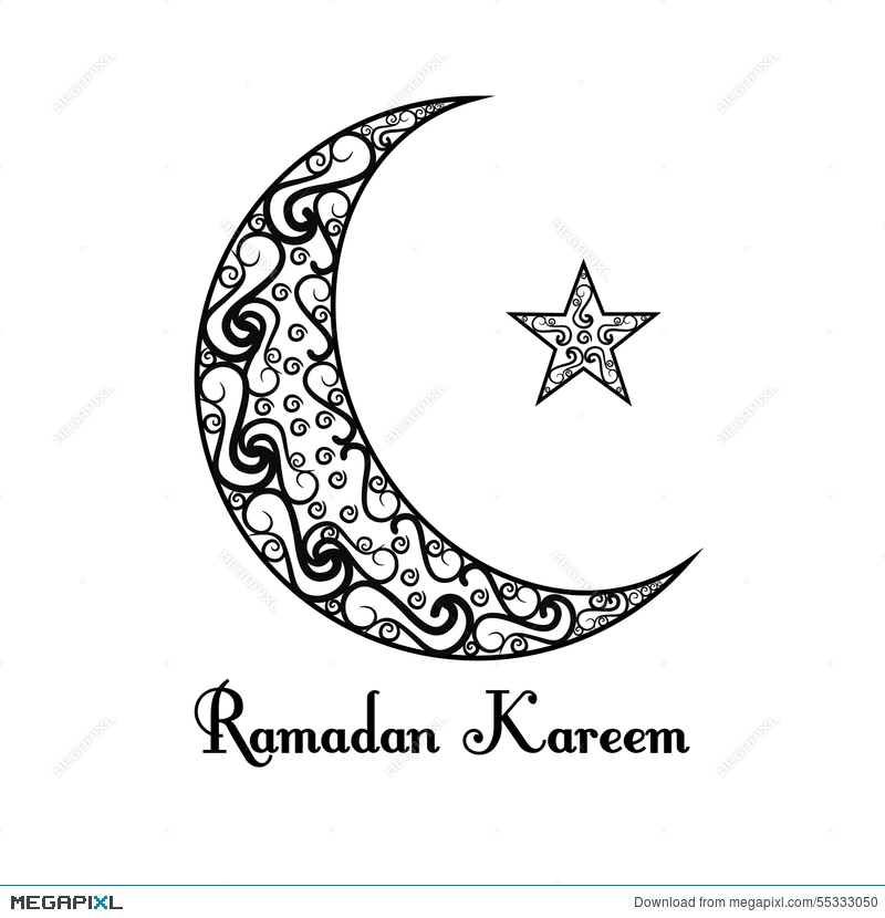 Black And White Moon Star Poster On Background Ramadan Kareem