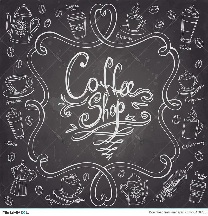 coffee shop design frame stylized chalkboard coffee background