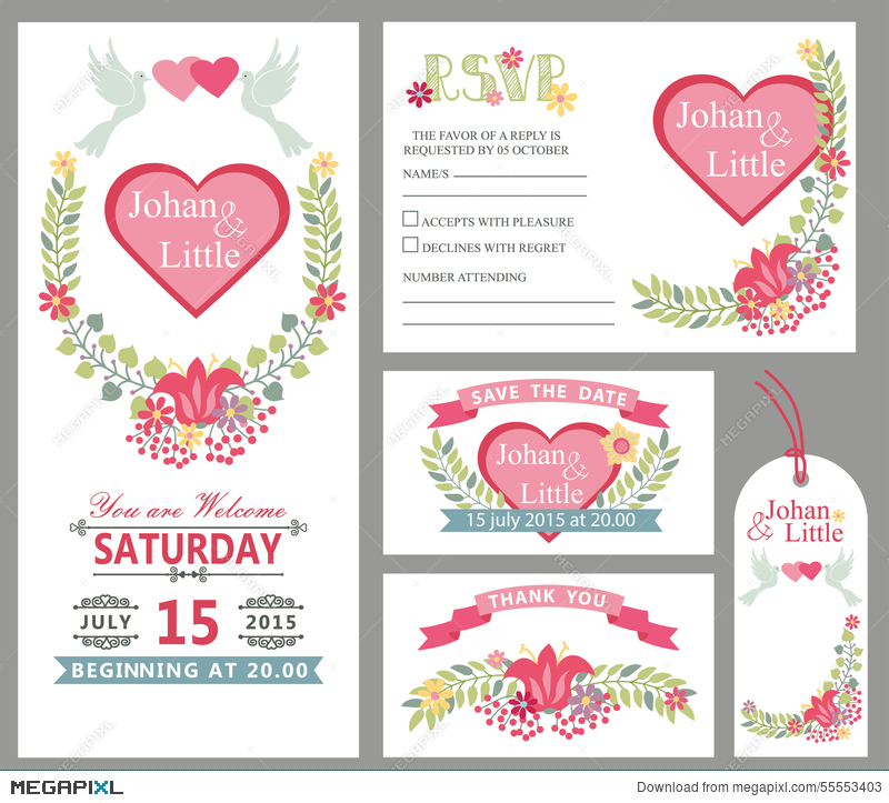 cute wedding card design template set floral decor illustration