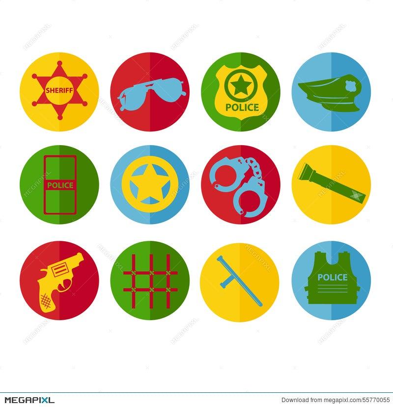Vector Set Design Silhouette Police Symbols In Different Colors