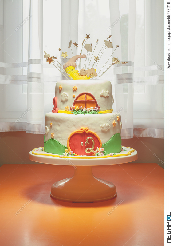 Excellent Second Birthday Cake Stock Photo 55777218 Megapixl Funny Birthday Cards Online Chimdamsfinfo