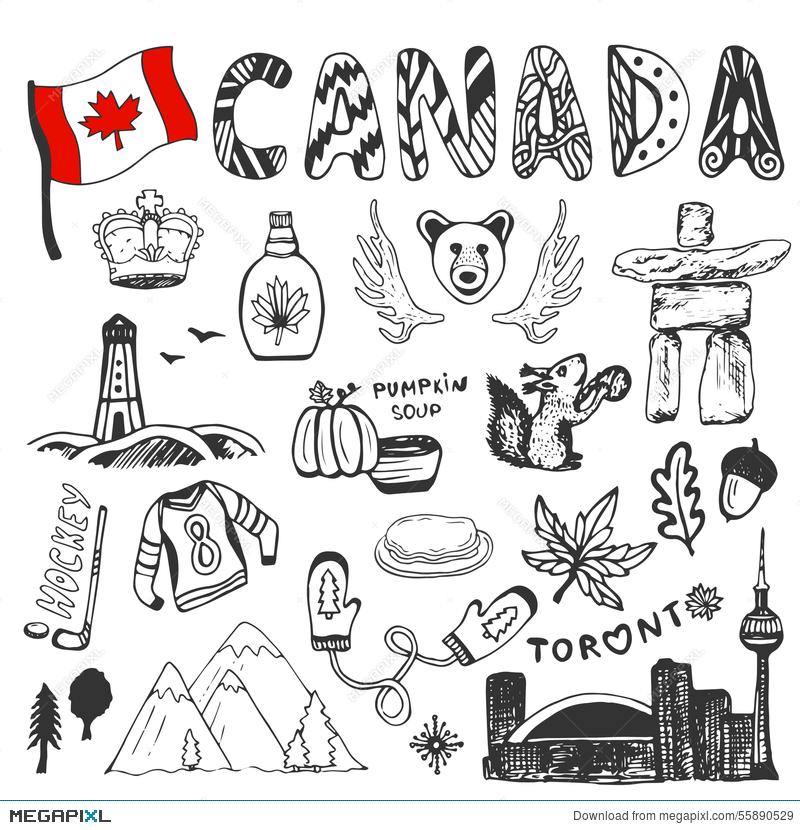 Sketch Hand Drawn Collection Of Canada Symbols Canadian Culture Set