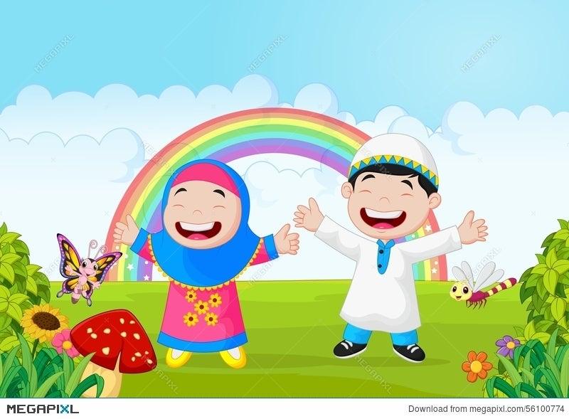 Happy Muslim Kid Cartoon Waving Hand With Rainbow Illustration