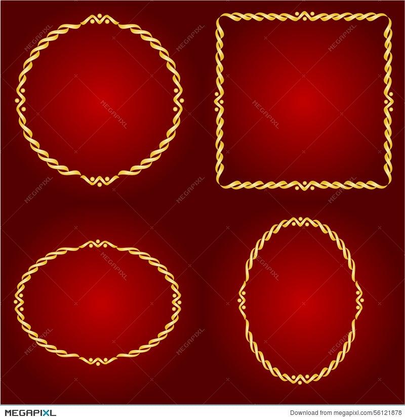 Gold Frames On The Red Background Vector Illustration 56121878