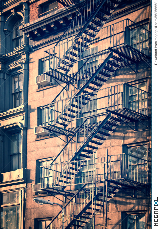 Outside Metal Fire Escape Stairs, New York City