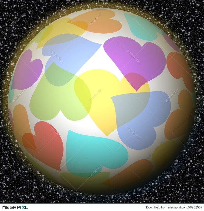 Romantic Fantasy Planet With Rainbow Heart Motif On Background With
