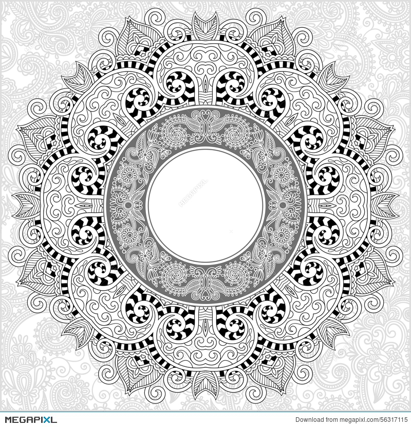 Unique Coloring Book Square Page For Adults Illustration 56317115 ...