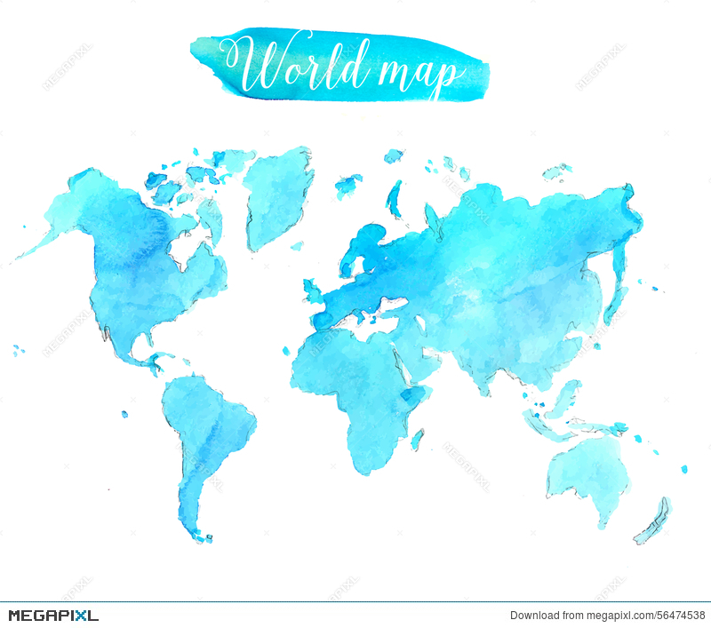 Blue watercolor world map vector artistic illustration 56474538 blue watercolor world map vector artistic gumiabroncs Images