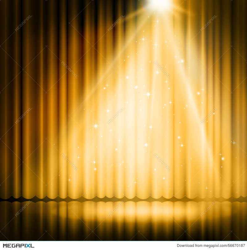 Spotlight On Stage Curtain Gold Background