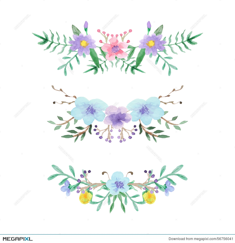 Watercolor Floral Border Set