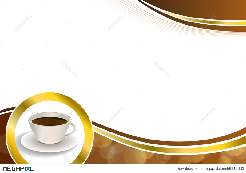 Abstract Background Coffee Cup Brown Gold Circle Ribbon Frame ...