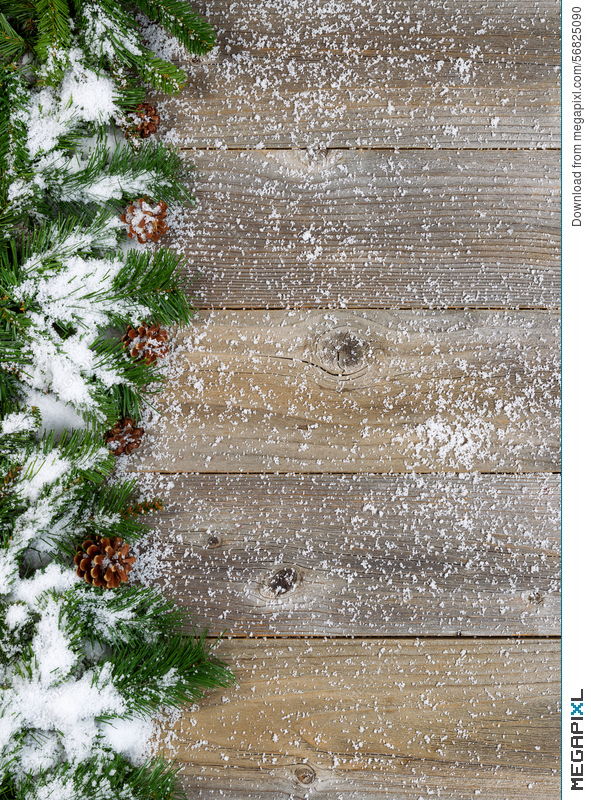 Christmas Border With Snow Covered Evergreen Branches On Rustic