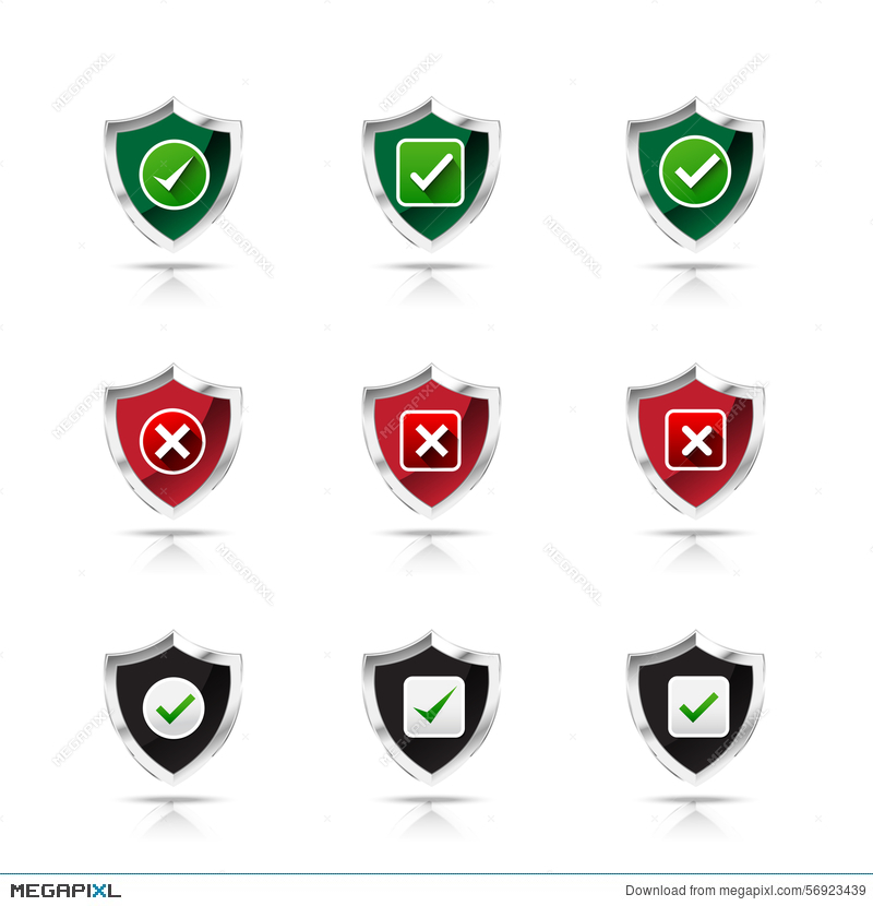 Collection Of Check Mark And Wrong Mark With Shield Icon Design