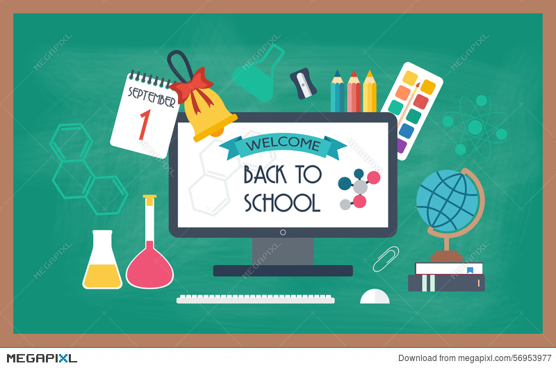 Banner Background Poster From The School And Education Icons Back To School Flat Design Illustration 56953977 Megapixl