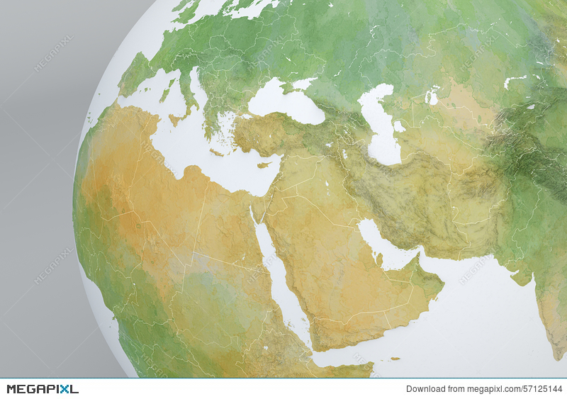 Globe Map With The Middle East, Asia, The Mediterranean ...