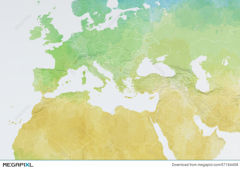 Map Of Europe, North Africa And Middle East, Relief Map ...