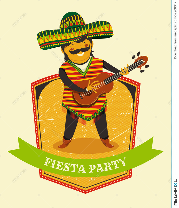 Mexican fiesta party invitation with mexican man playing the guitar mexican fiesta party invitation with mexican man playing the guitar in a sombrero hand drawn stopboris Image collections