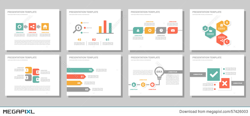 red green orange multipurpose presentation template flat design, Presentation templates