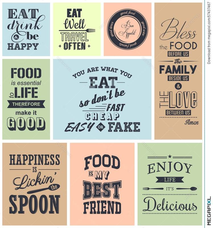 Set Of Vintage Food Typographic Quotes Illustration 57437467 Megapixl