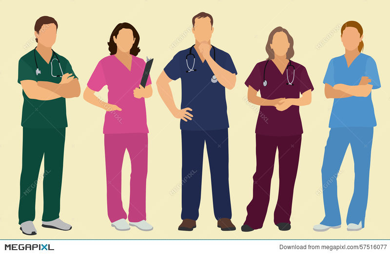 Male And Female Nurses Or Surgeons Illustration 57516077 - Megapixl