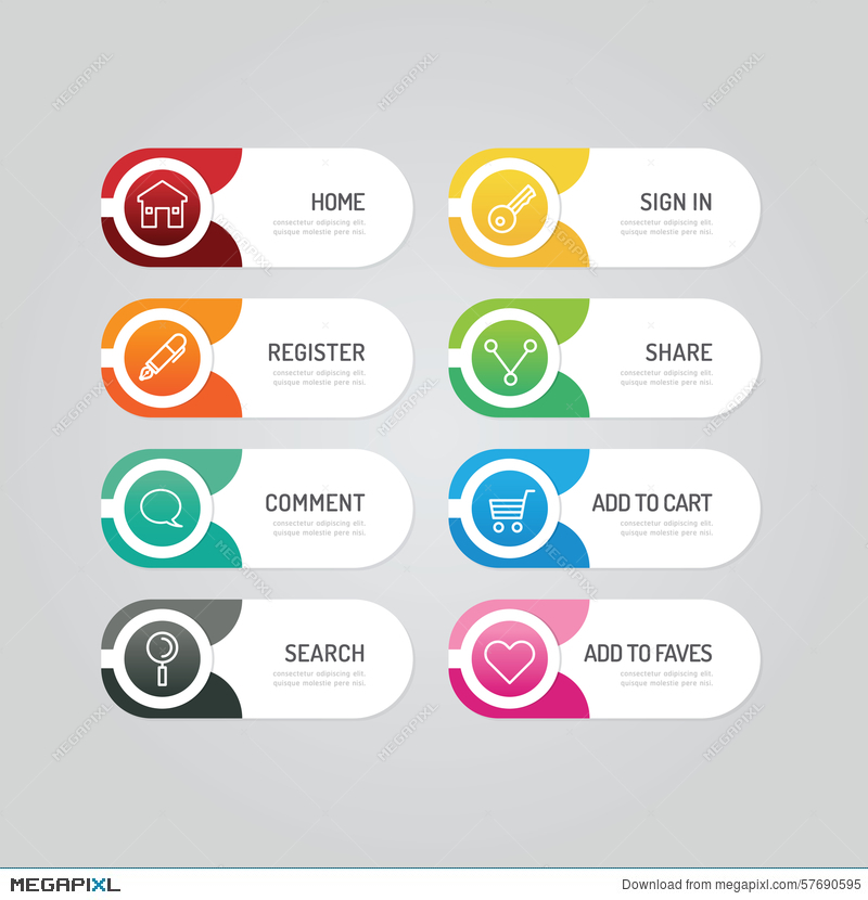modern banner button with social icon design options vector ill