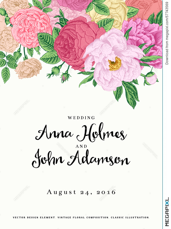 Vector Vintage Floral Wedding Invitation. Illustration 57743569 ...