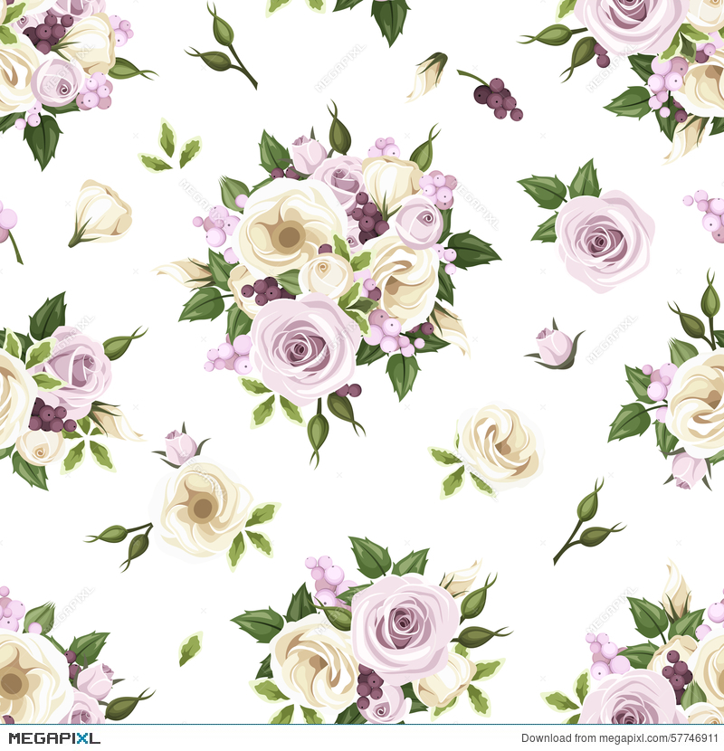 Seamless pattern with purple and white roses and lisianthus flowers seamless pattern with purple and white roses and lisianthus flowers vector illustration thecheapjerseys Choice Image