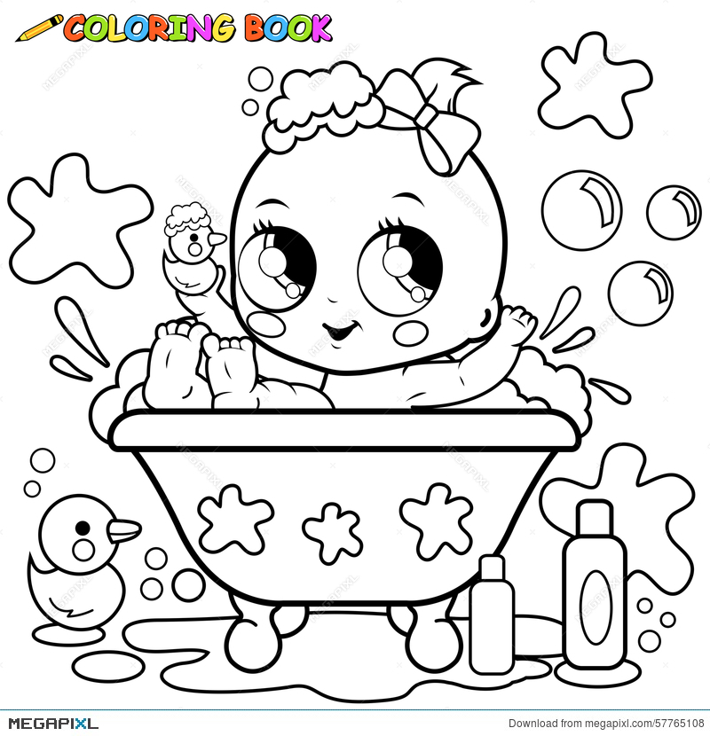 Baby Girl Taking A Bath Coloring Page Illustration 57765108 - Megapixl