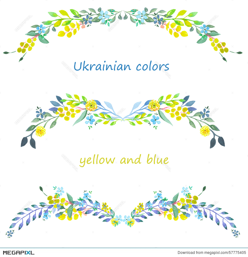 Frame Border Floral Decorative Ornament With Watercolor Blue And Yellow Flowers Leaves Branches