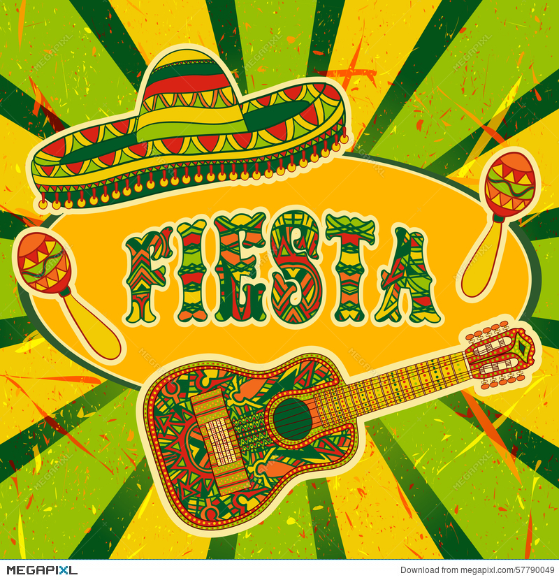 Mexican fiesta party invitation with maracas sombrero and guitar mexican fiesta party invitation with maracas sombrero and guitar hand drawn vector illustration poster stopboris Images