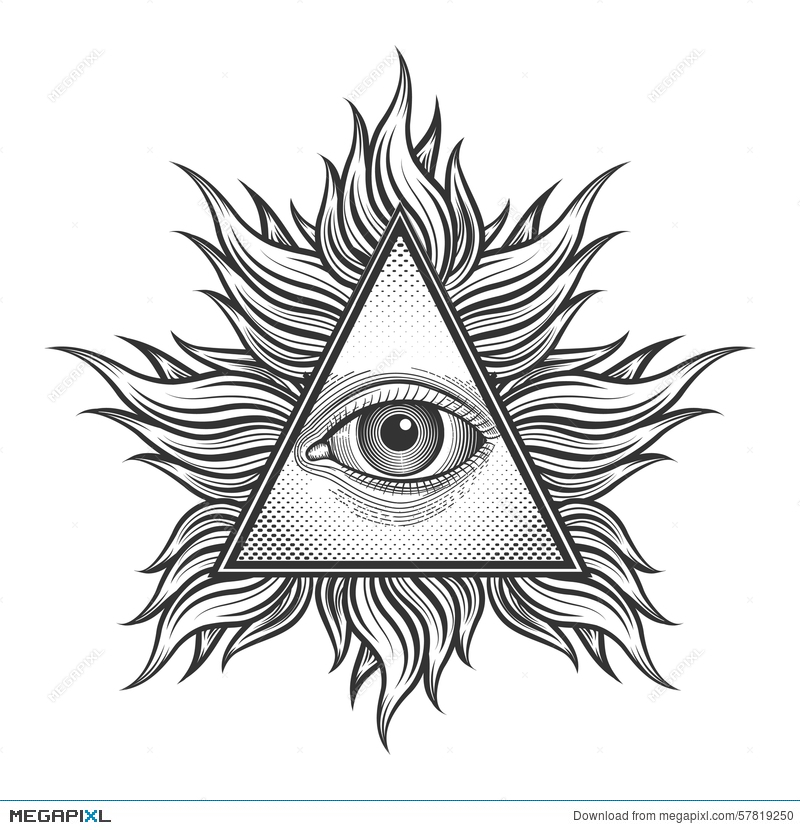 All Seeing Eye Pyramid Symbol In The Engraving Illustration 57819250