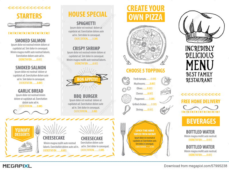 Restaurant Cafe Menu Template Design Food Flyer Illustration - Delivery menu template