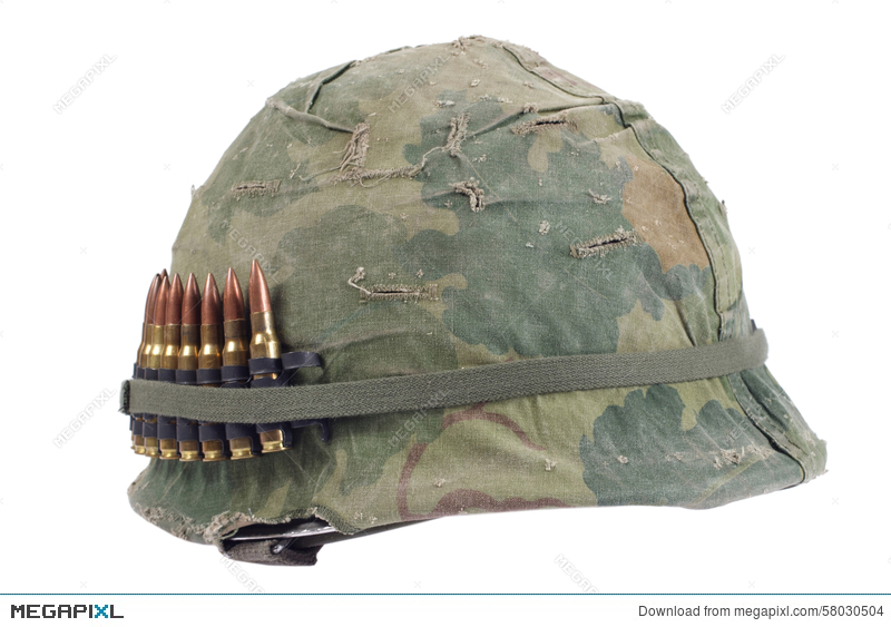 204308ea Us Army Helmet With Camouflage Cover And Ammo Belt - Vietnam War ...