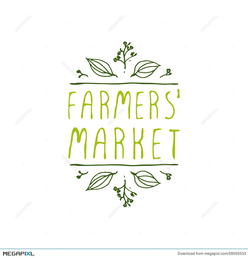 Farmers Market Product Label On White Background
