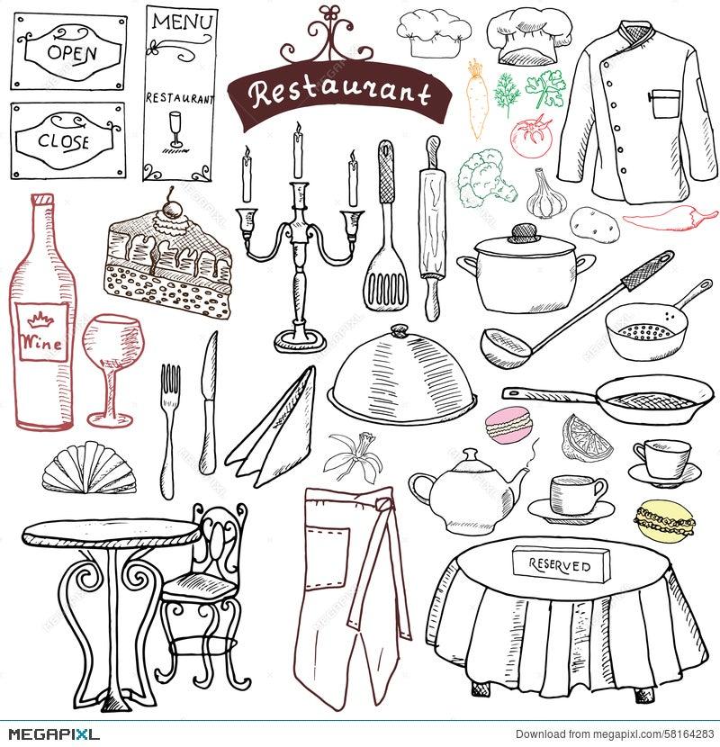 Restaurant Sketch Doodles Set Hand Drawn Elements Food And Drink Knife Fork
