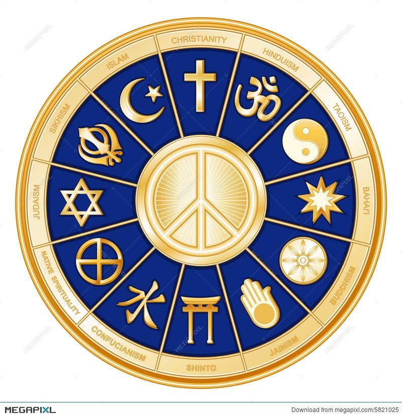 Peace Symbol World Religions Faiths Blue Illustration 5821025