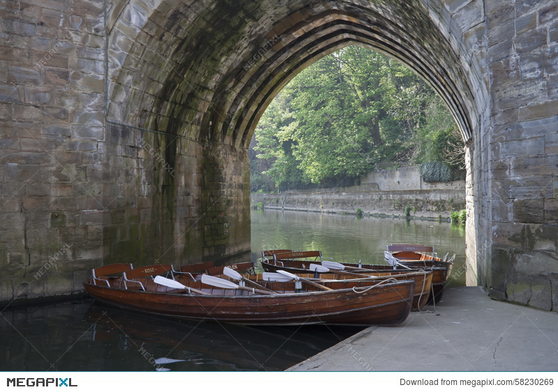 Boats Under Archway On River Wear Durham City Stock Photo 58230269