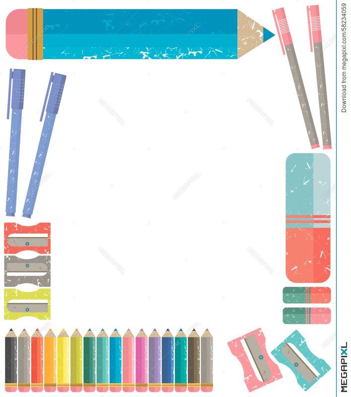 a8f1836b5b1b Vector Frame Of School Supplies Illustration 58234059 - Megapixl