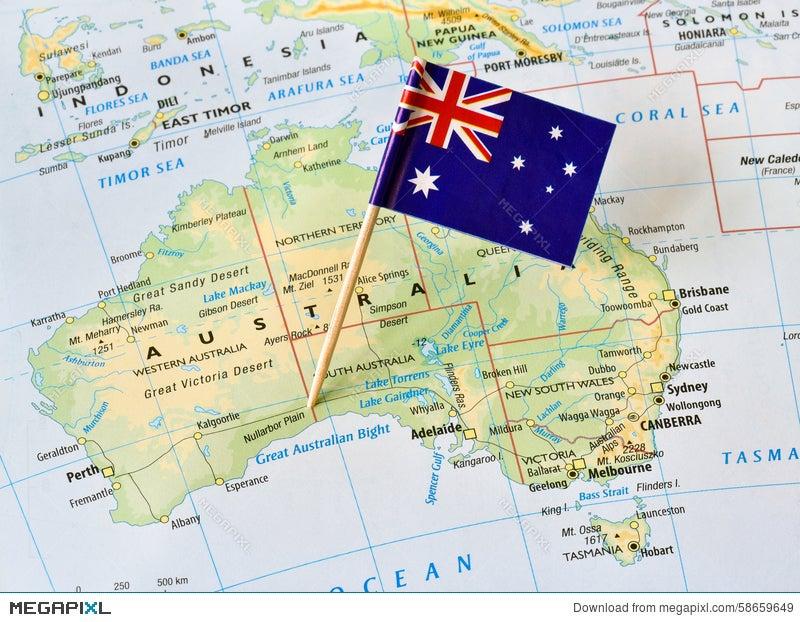 Australia Map And Flag.Australia Map Flag Pin Stock Photo 58659649 Megapixl