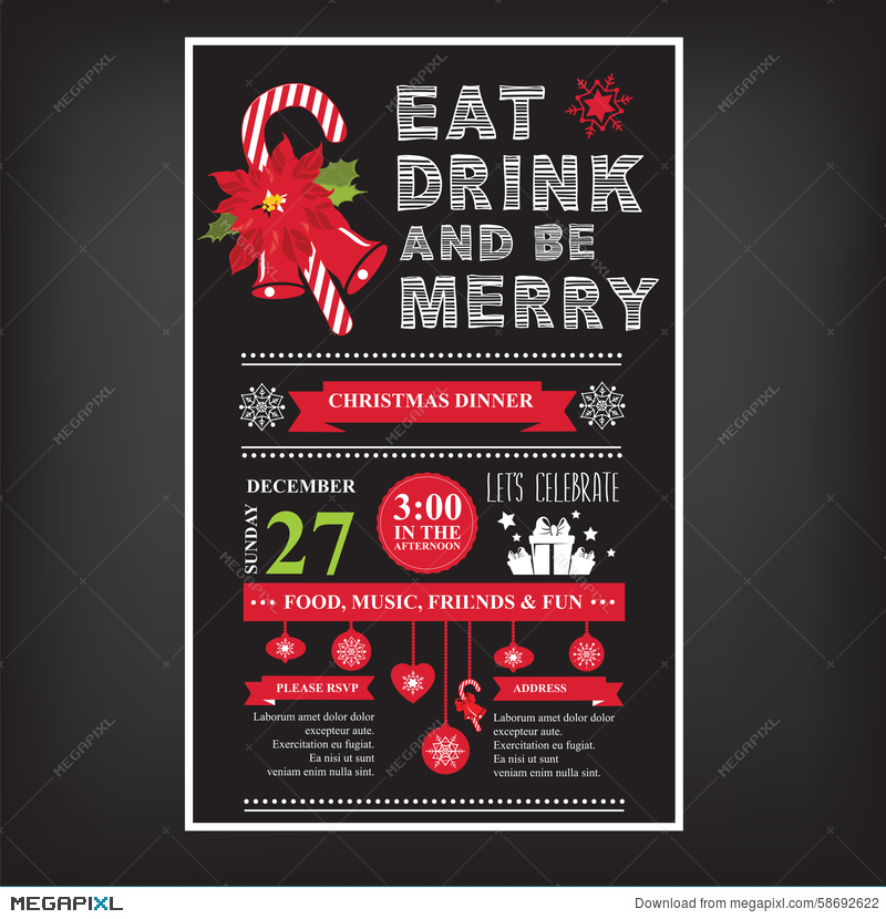 Christmas Restaurant Poster.Christmas Restaurant And Party Menu Invitation
