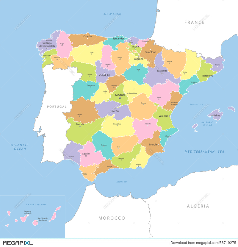 Map Of Spain Vector Free.Highly Detailed Map Of Spain Vector Illustration 58719275 Megapixl
