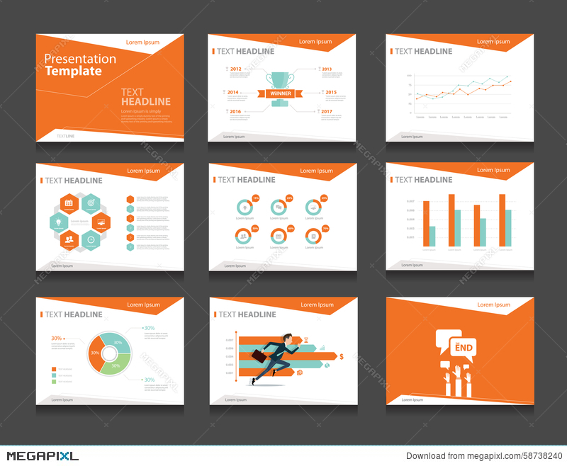 orange infographic business presentation template set powerpoint