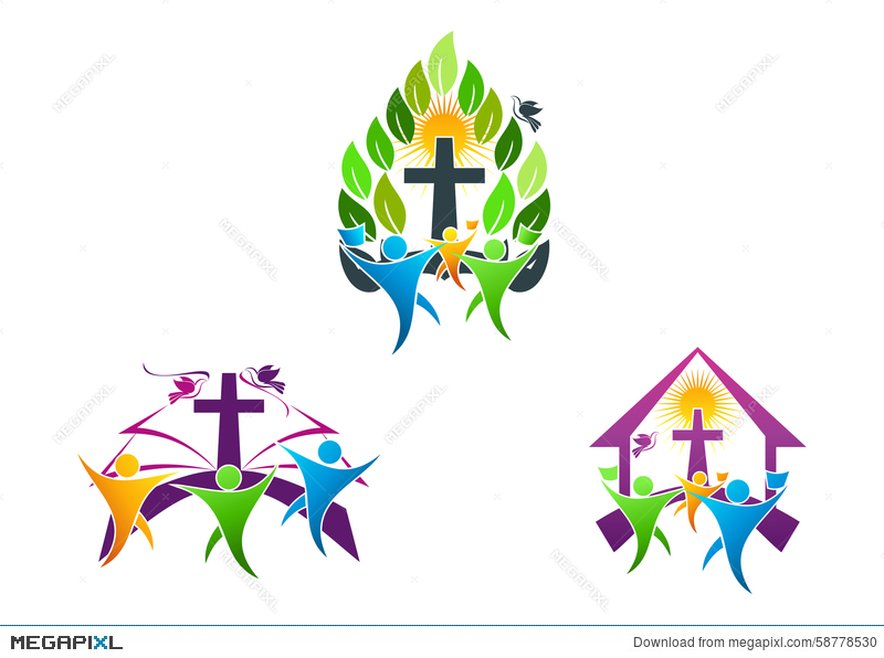 People Church Christian Logo Bibledove And Religious Family Icon