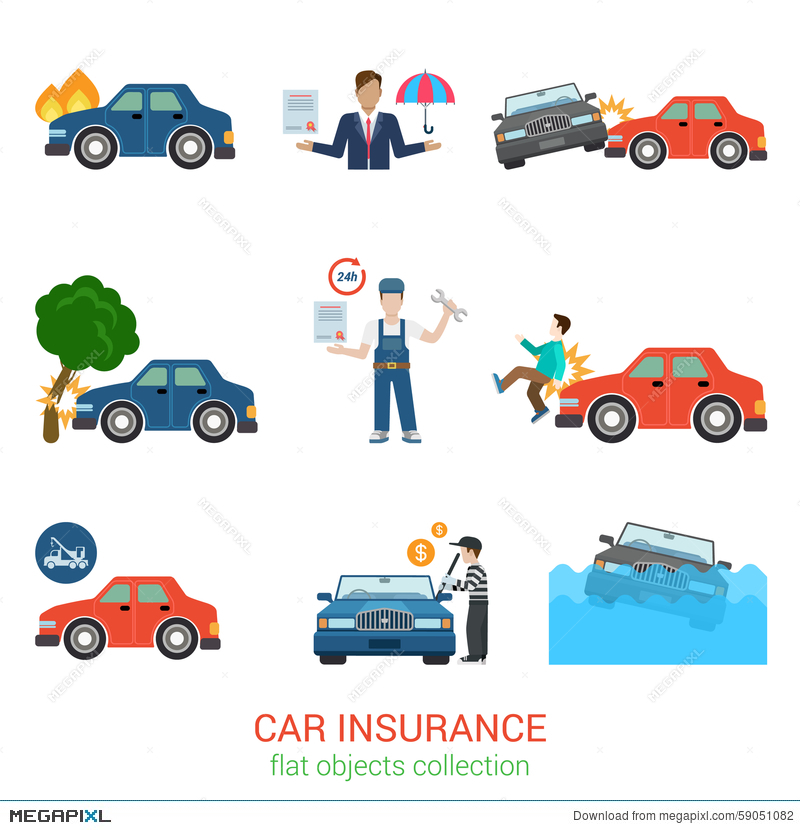 car insurance flat vector icon pack accident service loss