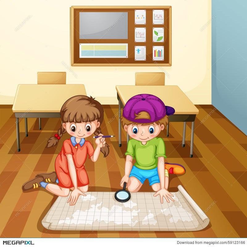 Children Reading Map In Classroom Illustration Megapixl - Map reading for children
