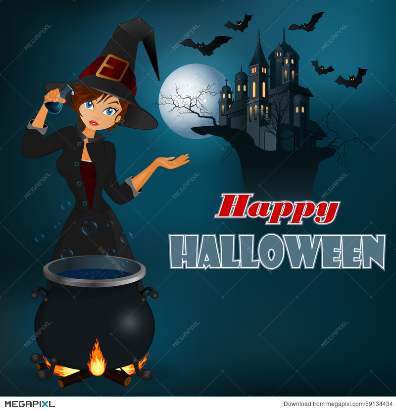 happy halloween message graphic background with witch and moonlight