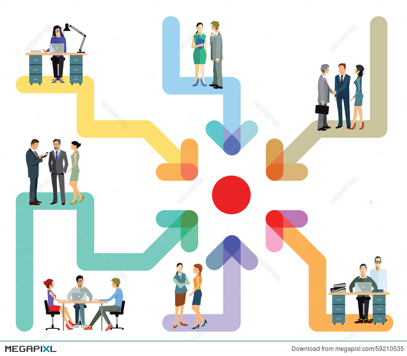 business teams working together chart illustration 59210535 megapixl