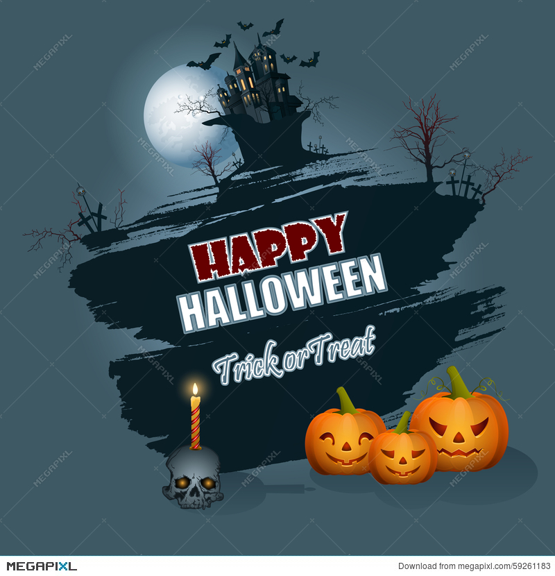 happy halloween message background with moonlight scene