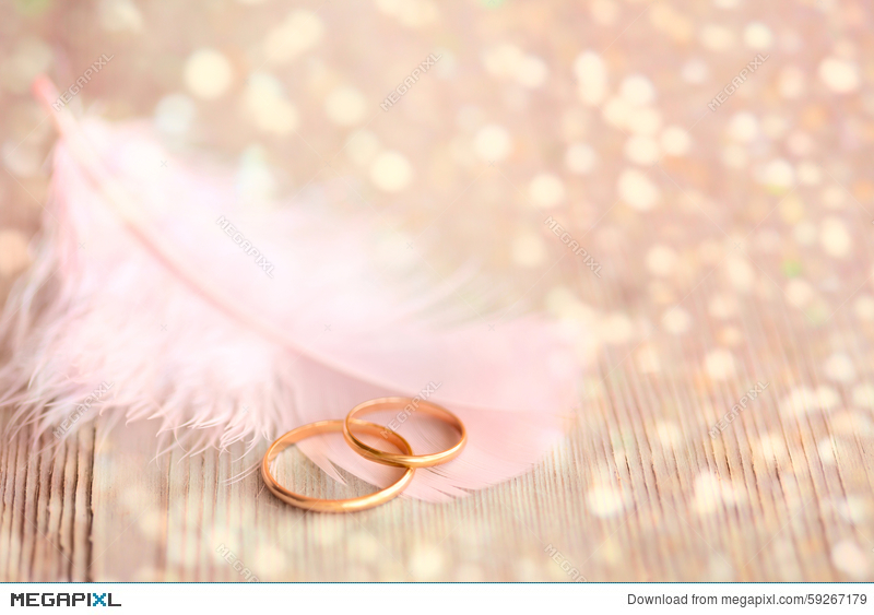 Wedding Background With Gold Rings, Pink Feather And Magical