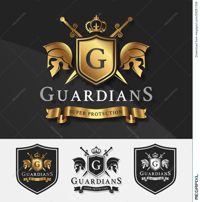 Shield And Two Guardians With Cross Knight Crest Logo Template ...